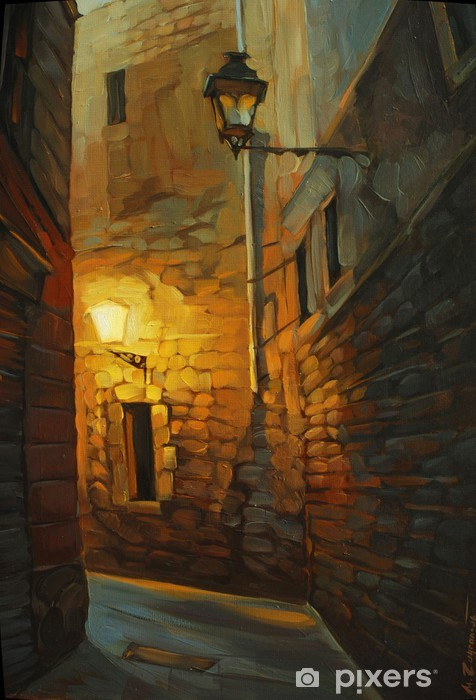 medieval street in gothic quarter of barcelona, painting, illust Self-Adhesive Wall Mural - Themes