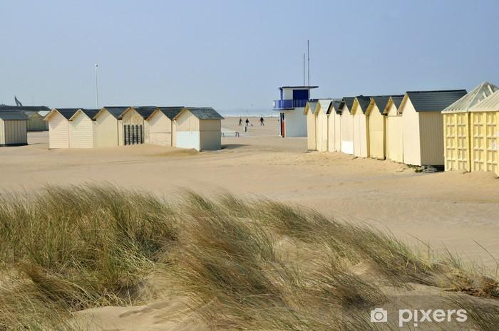 Naklejka Pixerstick Kabiny plaży na wydmach w Ouistreham - Wakacje