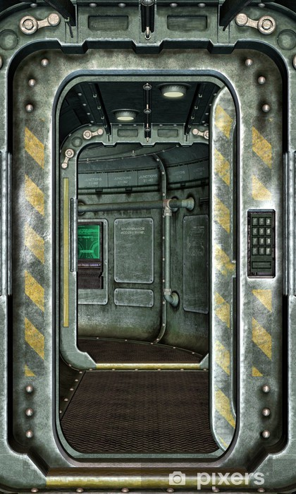 Vinilo Pixerstick Escotilla nave espacial y corredor de fondo - Estilos
