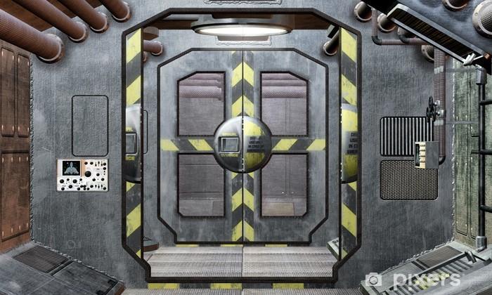 Papier peint vinyle Trappe de vaisseau spatial et fond corridor - Styles