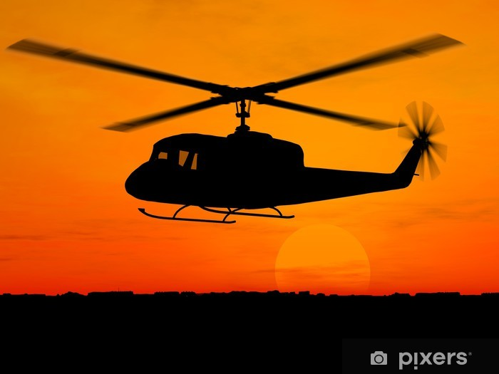 Helicopter 3d military over orange sky Self-Adhesive Wall Mural - Themes