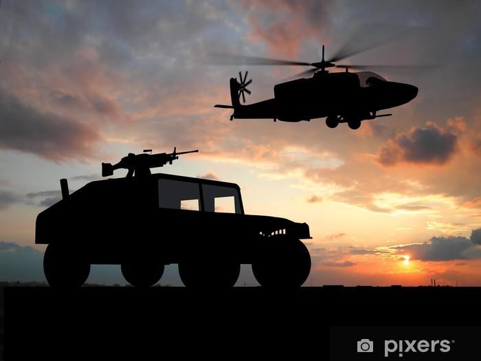 Sticker Pixerstick Silhouette de camion sur le coucher du soleil avec un hélicoptère. - Thèmes