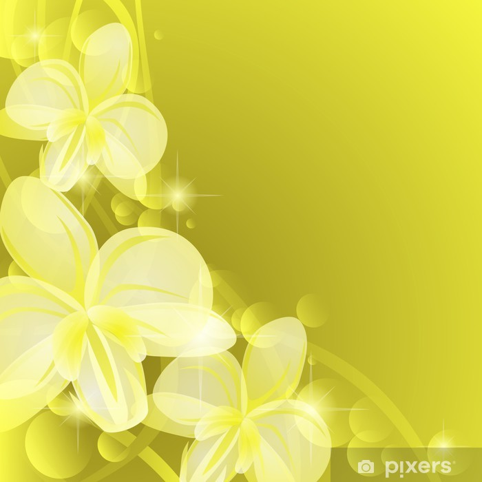 Poster Fond jaune avec orchidées - Arrière plans