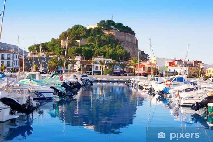 Denia mediterranean port village with castle Vinyl Wall Mural - Europe