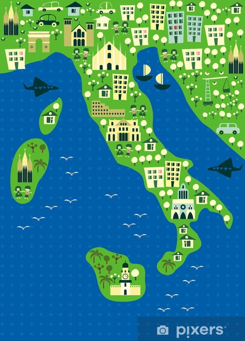 Papier peint vinyle Carte de bande dessinée de l'Italie - Europe