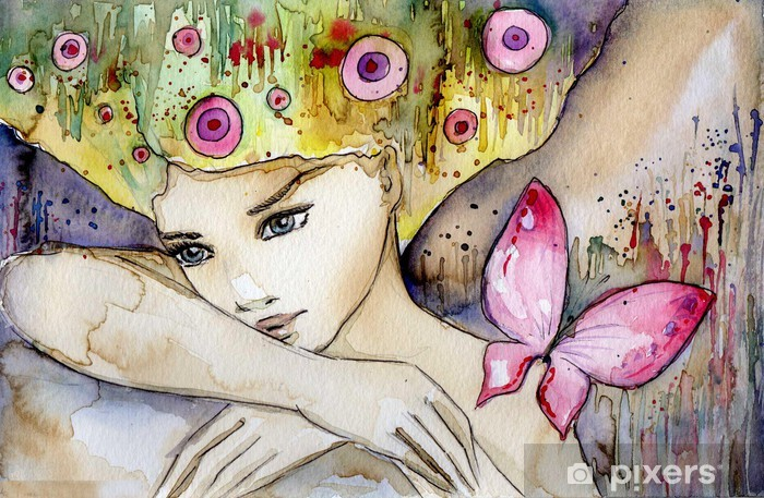 Sticker Pixerstick Belle fille avec papillon -