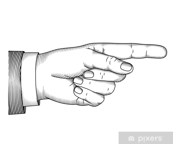 Hand with pointing finger. Vector illustartion in graphic style Door Sticker - Art and Creation