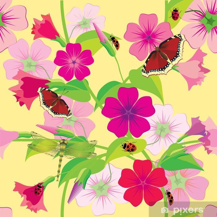 Sticker Pixerstick Fleur de fond avec les papillons et les libellules. Sans couture. - Arrière plans