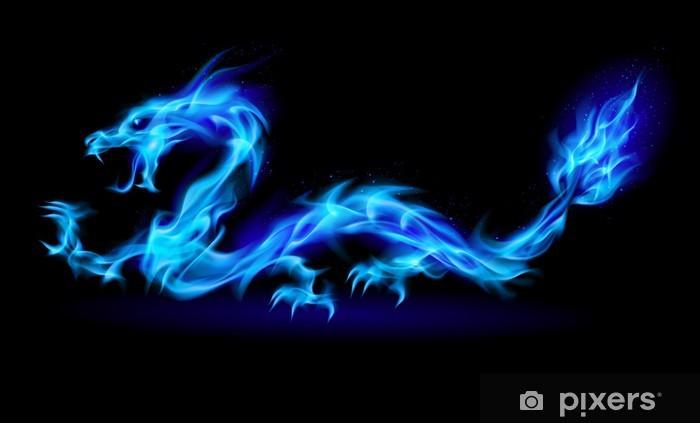 Naklejka Pixerstick Niebieski płomień smoka - Smoki
