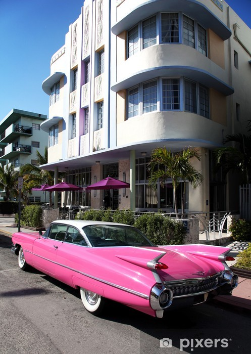 Old american car parked on Collins Avenue Miami Beach Pixerstick Sticker - America