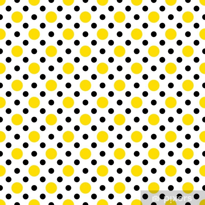 Yellow Black Polka Dots On White Background Wallpaper Wall Mural Vinyl