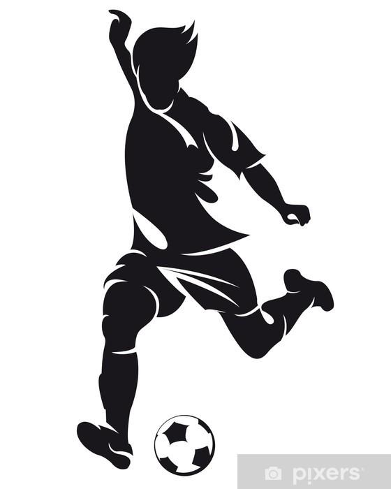Fototapete Vector Fussball Fussball Spieler Silhouette Mit Ball Isoliert