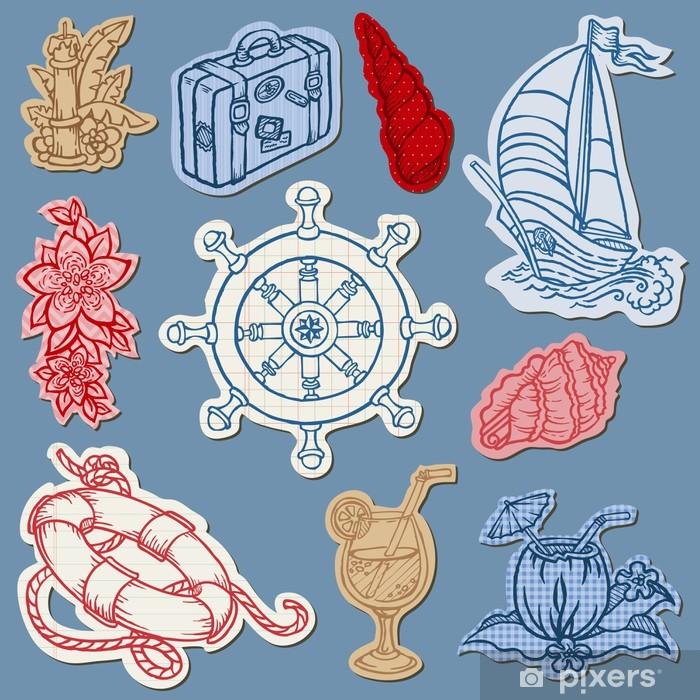 Sticker Pixerstick Griffonnages nautiques sur Torn Paper-Main dessinée de collecte dans le vecteur - Vacances