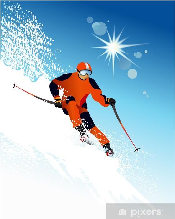 Fototapeta winylowa Narciarz - Sporty zimowe