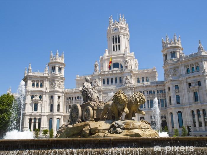 Sticker Pixerstick Fontaine de Cibeles et de Cibeles Palace, Madrid - Villes européennes