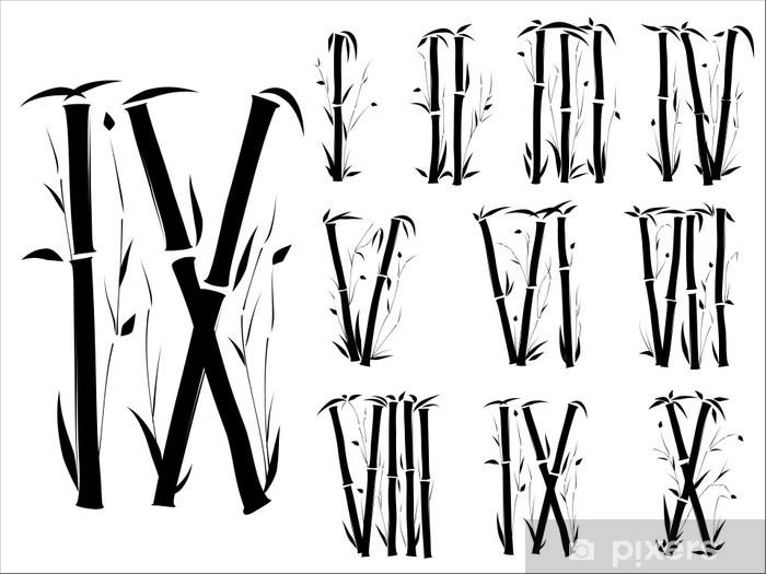 Fotomural Alfabeto De Bambú Números Romanos De Fuente De Estilo