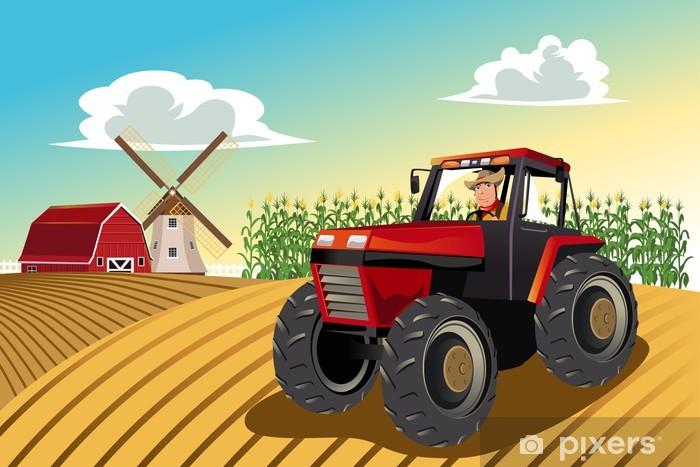 Vinil Duvar Resmi Çiftçi bir traktör sürme -