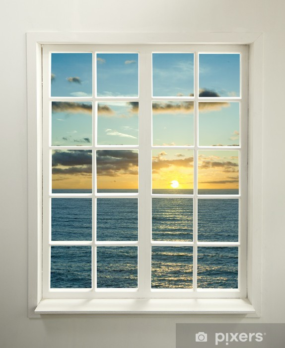 Modern residential window with sunset over sea and clouds Vinyl Wall Mural - iStaging