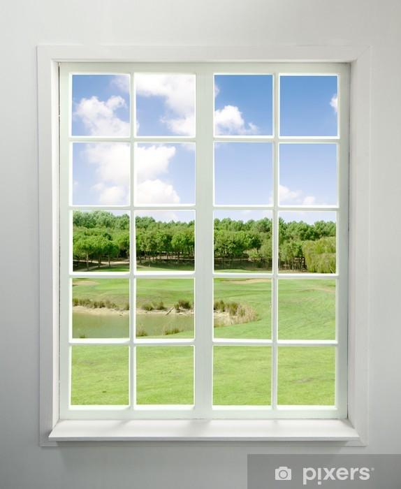 Carta da Parati in Vinile Moderna finestra residenziale con vista lago - Stili
