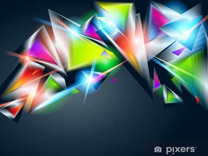 Vinyl Fotobehang Abstracte achtergrond van kleurrijke gloeiende driehoeken. Vector illu - Achtergrond