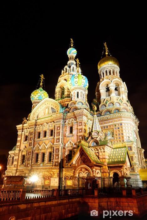 Sticker Pixerstick Eglise du Sauveur sur le Sang de Sait-Pétersbourg par nuit - Bâtiments publics