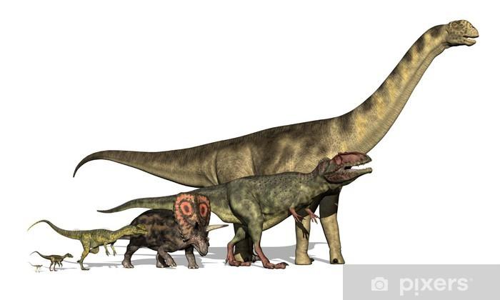 Pixerstick Sticker Zes Dinosaurussen Enorme Tiny - Muursticker