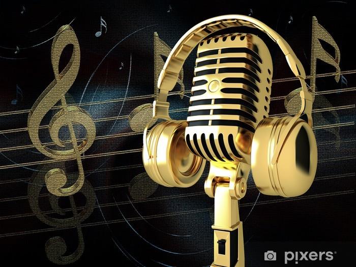 Fototapeta winylowa Mikrofon ze słuchawkami na tle - Muzyka