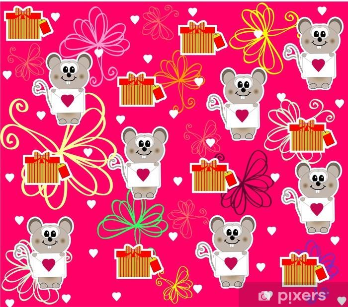 Plakat Bezproblemowa z cute myszy na Walentynki - Tła