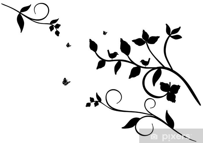 Vinilo Pixerstick Pájaros En árbol En Blanco Y Negro Pixers