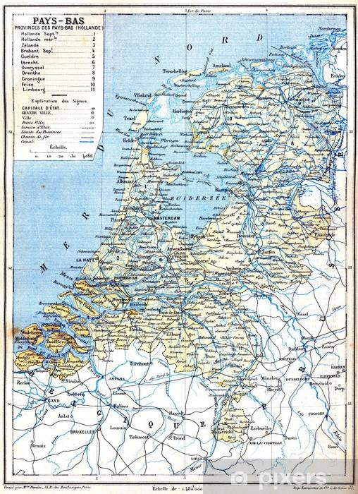Papier peint vinyle La carte des Pays-Bas - Vacances