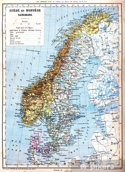Fotobehang De Kaart Van Zweden Noorwegen En Denemarken Pixers