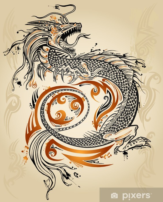 Dragon Doodle Sketch Tattoo Icon Tribal grunge Vector Pixerstick Sticker - Themes