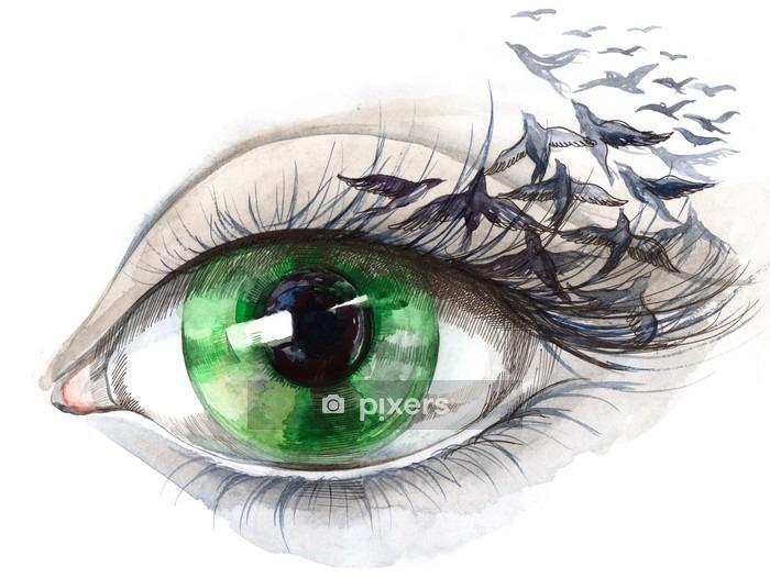 Naklejka na ścianę Oko z ptakami (seria C) - Style