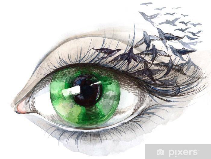 Naklejka Pixerstick Oko z ptakami (seria C) - Style