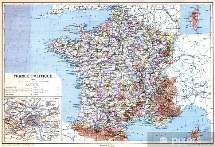 Papier peint vinyle La Politique carte-France - Thèmes