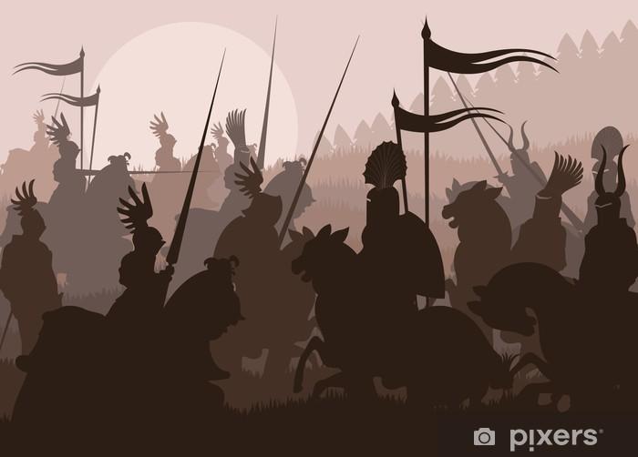 Middelalderlige riddere i kamp vektor baggrund Vinyl fototapet -