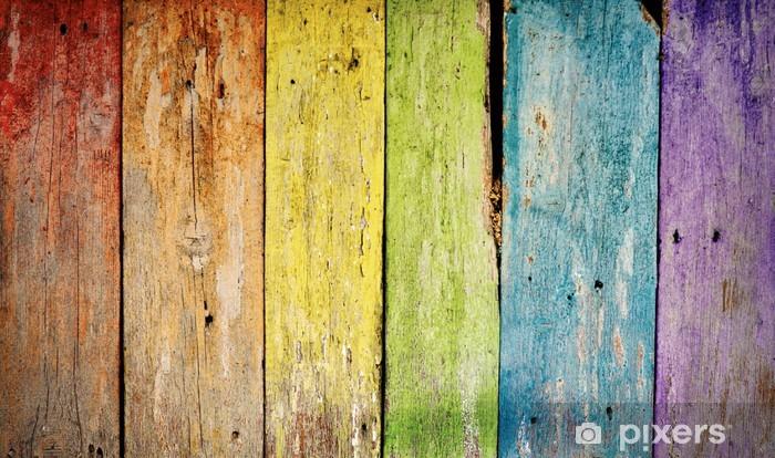 Sticker Pixerstick Vieille planche en bois de fond arc - Thèmes