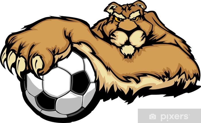 Fotomural Estándar La mascota del puma con el balón de fútbol ilustración vectorial - Mamíferos