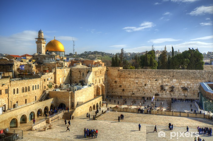Old City Of Jerusalem at the Wailing Wall and Dome of the Rock Vinyl Wall Mural - The Middle East