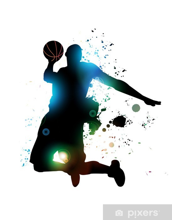 Pixerstick Sticker Abstracte basketbalspeler - Sport