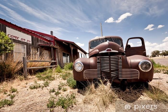 Vinil Duvar Resmi ABD'de rota 66 karayolu üzerinde terk edilmiş restaraunt -