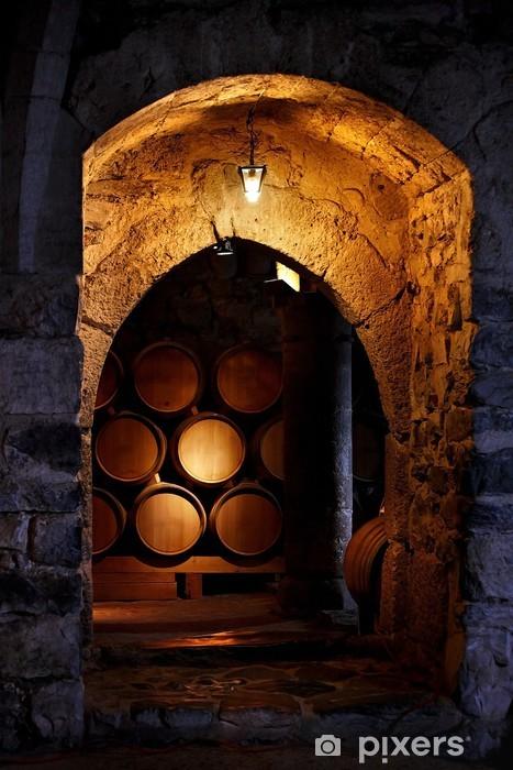 Mural de Parede em Vinil Barrel of wine in winerry. - Estilos