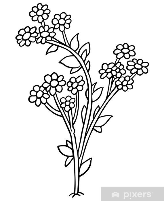 Sticker Fleurs Dessin Animé Noir Et Blanc Illustration Pixerstick
