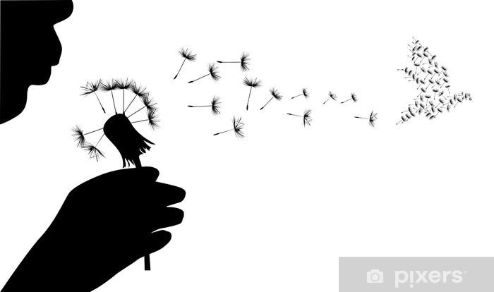 Naklejka Pixerstick Człowieka i gołąb z nasion mniszka lekarskiego - Ptaki