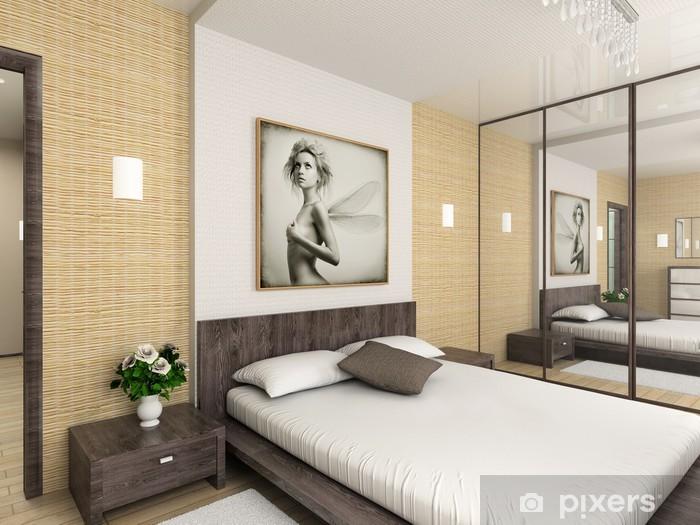 Fototapete Modern interior. 3D render. Schlafzimmer. Exklusive Design.