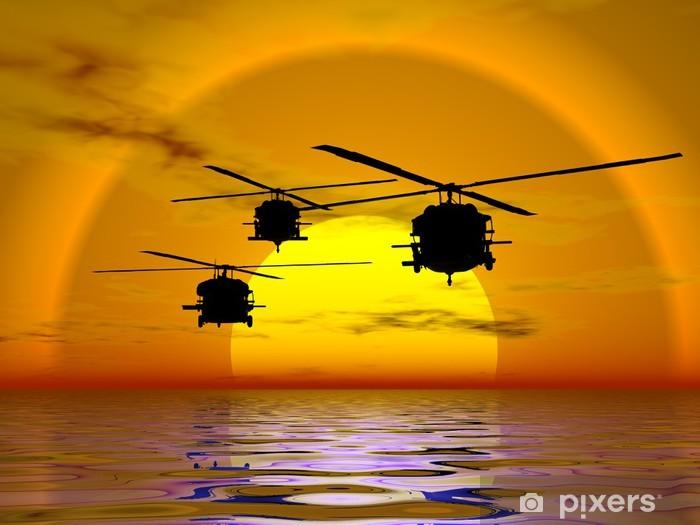 Nálepka Pixerstick Ilustrace americké námořnictvo, armáda vrtulník, Blackhawk - Vzduch