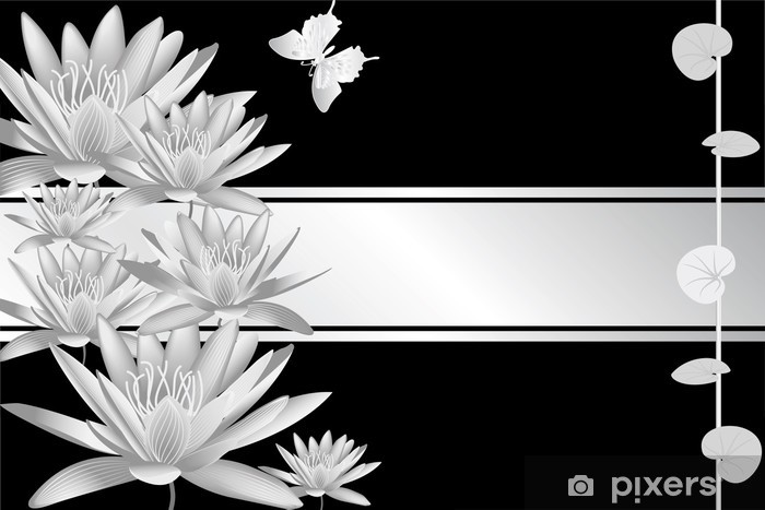 Fototapeta winylowa Srebrny Nenufar - Znaki i symbole