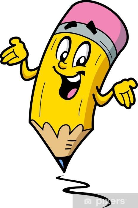 Fototapeta winylowa Szczęśliwy uśmiechnięty facet Ołówek cartoon - Naklejki na ścianę