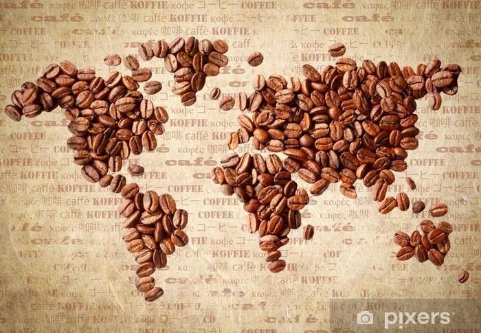 Fototapeta winylowa Mapa świata z ziaren kawy - Tematy