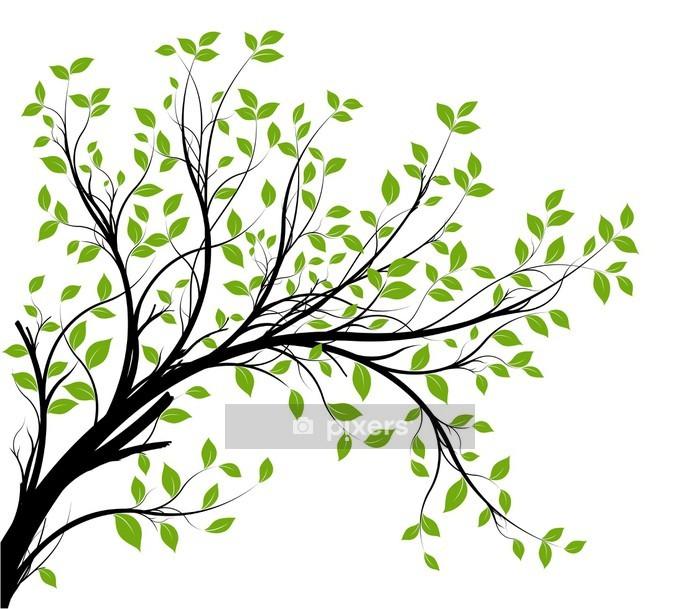 Muursticker Vector set - groene decoratieve tak en bladeren - Stijlen